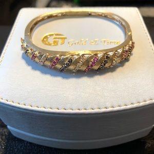 14k gold bracelet genuine sapphire, ruby &diamond